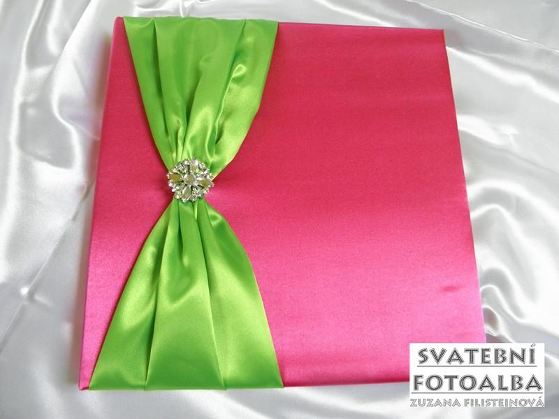 svatební fotoalbum, kniha hostů, fuchsiovo-zelená