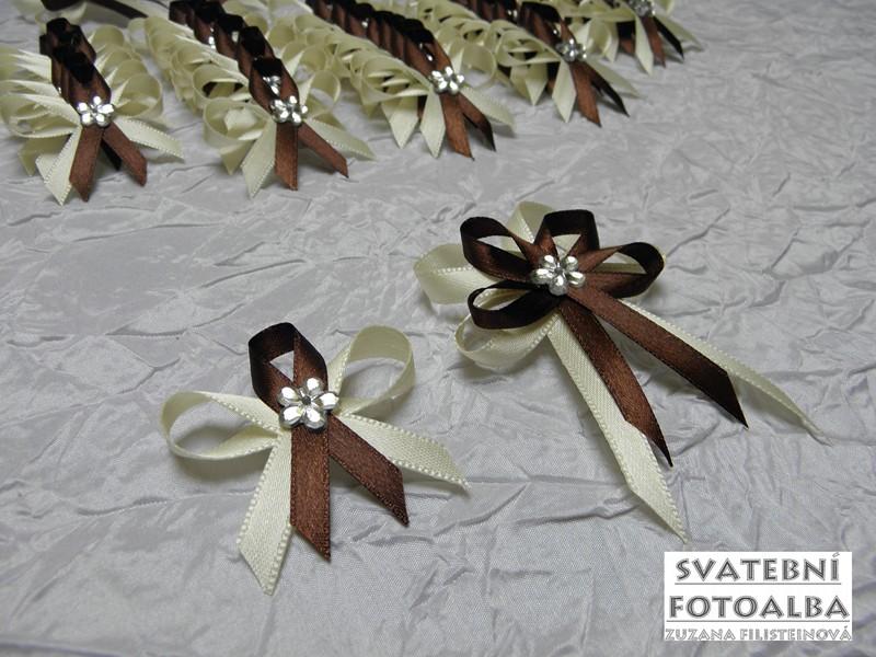 vývazek, svatba, vonička svatební, krémovo-hnědý