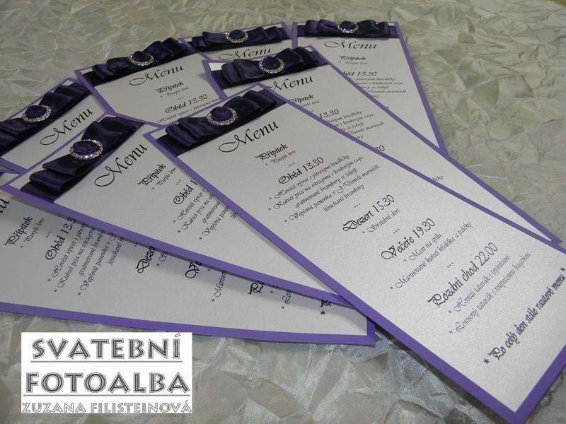 svatební oznámení, jmenovky na stůl, menu, tiskoviny