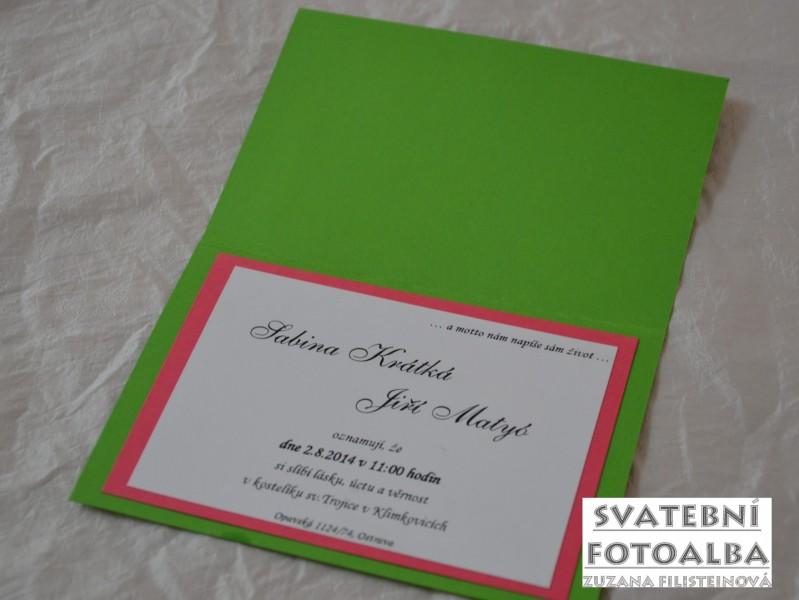 svatební oznámení fuchsiovo-zelené