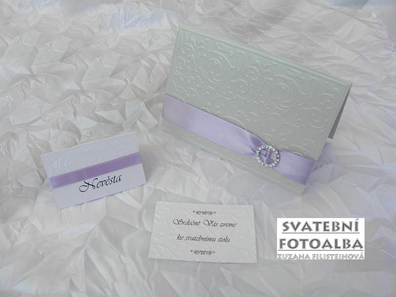 svatební oznámení, jmenovka na stůl, menu, pozvání ke stolu