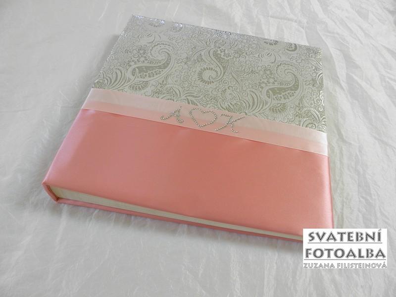 svatební fotoalbum, kniha hostů, album, svatba, růžová, monogramy