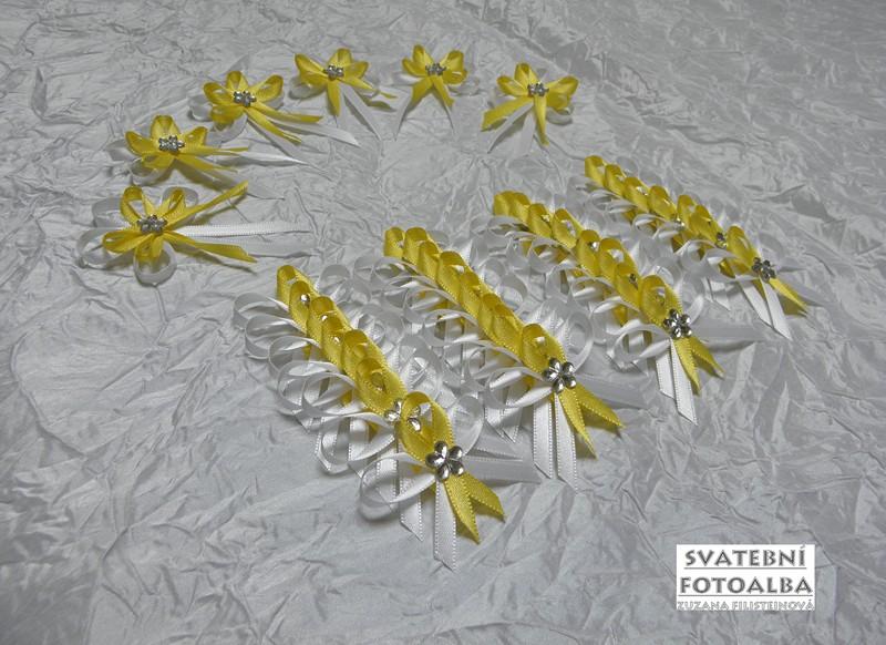 vývazek, vonička svatební, žluto-bílý